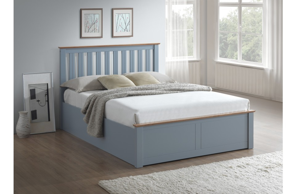 Flame Stone Grey Double Ottoman Storage Bed Frame