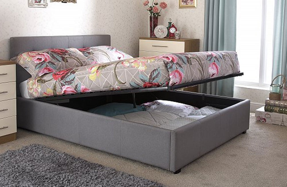 Royal Silver Double Ottoman Storage Bed Frame
