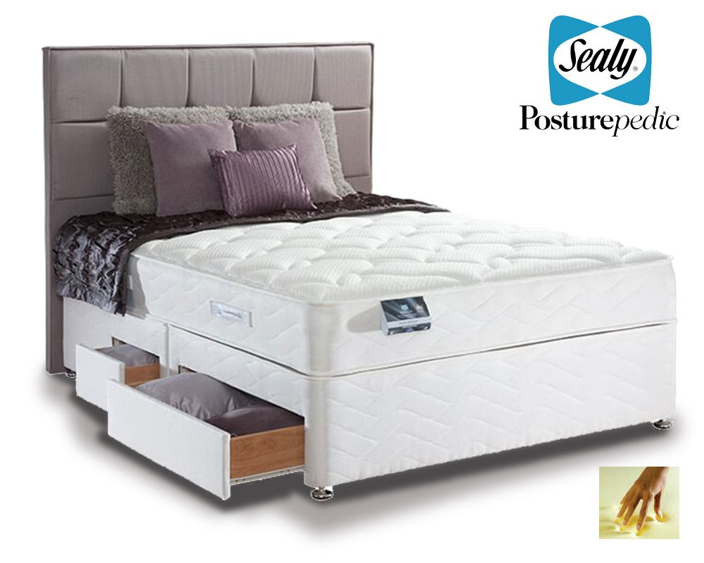 sealy pearl memory double 4 drawer divan bed double. Black Bedroom Furniture Sets. Home Design Ideas