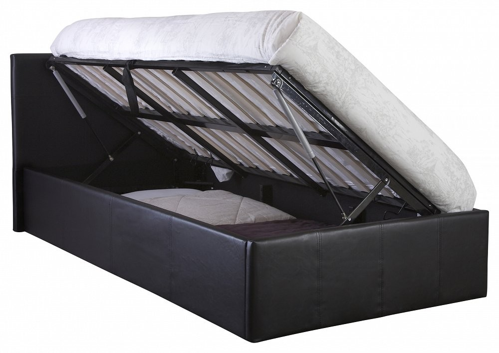 Side lift ottoman storage black double bed frame double - Lift up storage bed ...