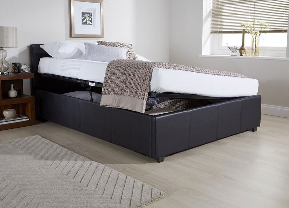 Side Lift Ottoman Storage Black Double Bed Frame Double