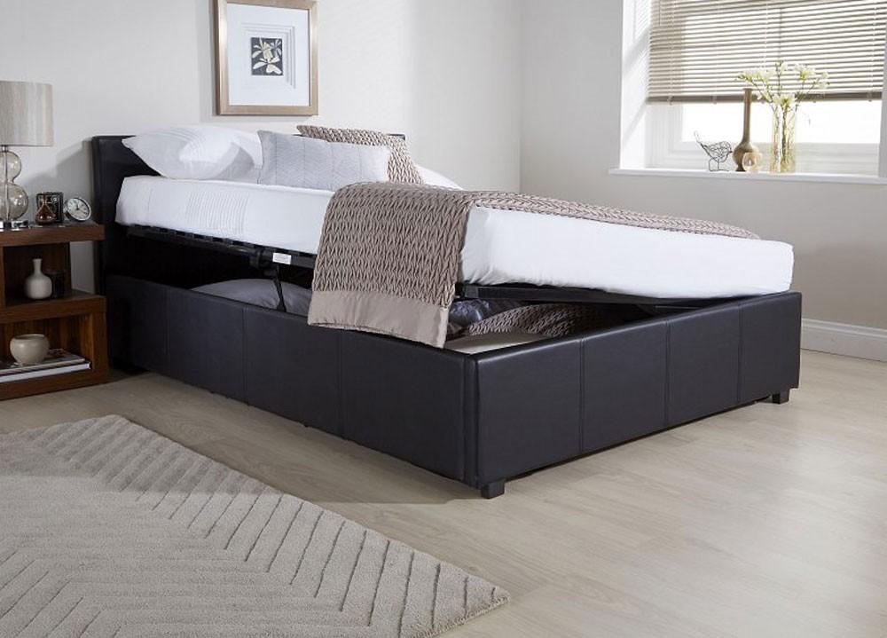 side lift ottoman storage black double bed frame double. Black Bedroom Furniture Sets. Home Design Ideas
