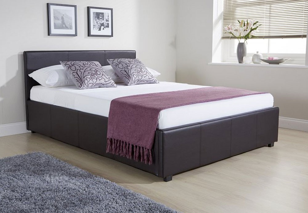 Side Lift Ottoman Storage Brown Double Bed Frame
