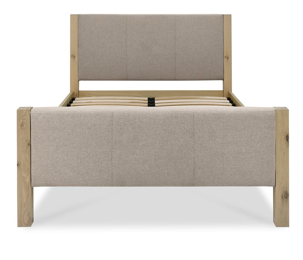 Turin Aged Oak Upholstered High Foot Double Bed Frame