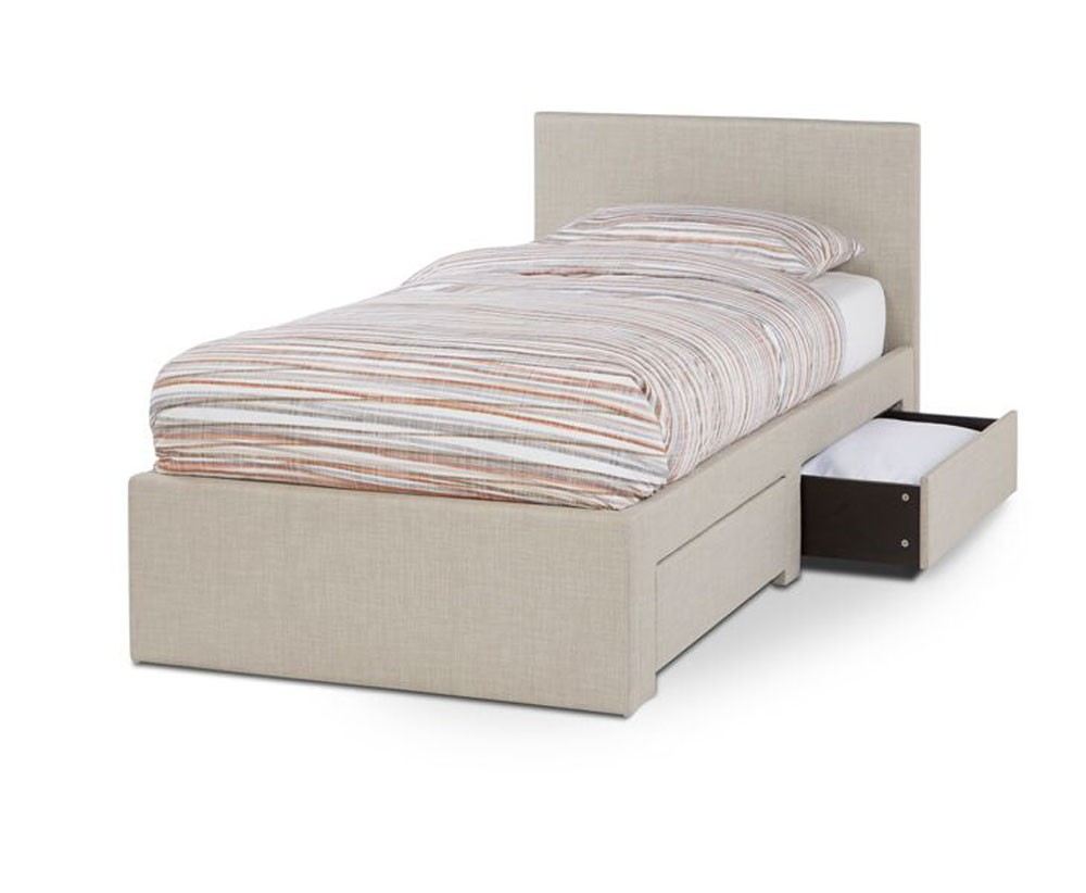 Cube Linen Fabric 2 Drawer Single Bed Frame