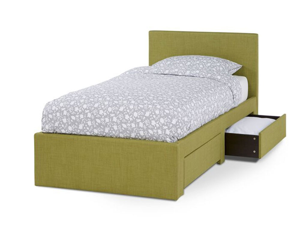 Cube Olive Fabric 2 Drawer Single Bed Frame Single Bed