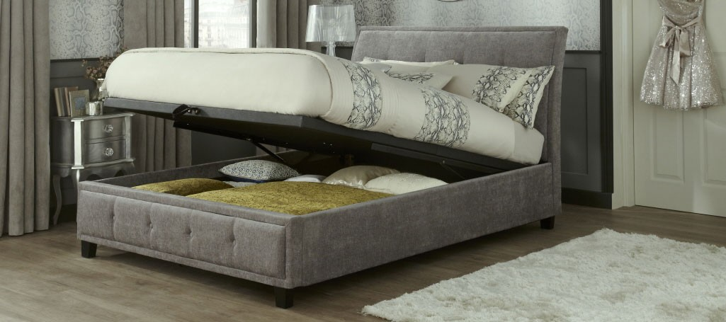 Wilson Steel Double Ottoman Storage Bed Frame Double Bed