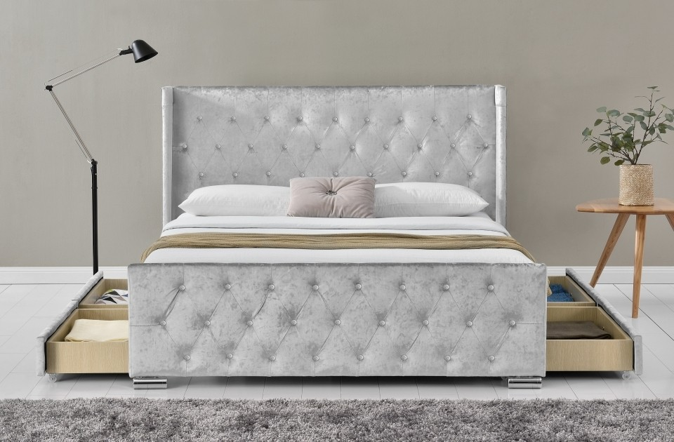 Liza Silver 4 Drawer Bed Frame
