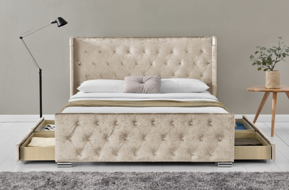 Liza Champagne 4 Drawer Bed Frame