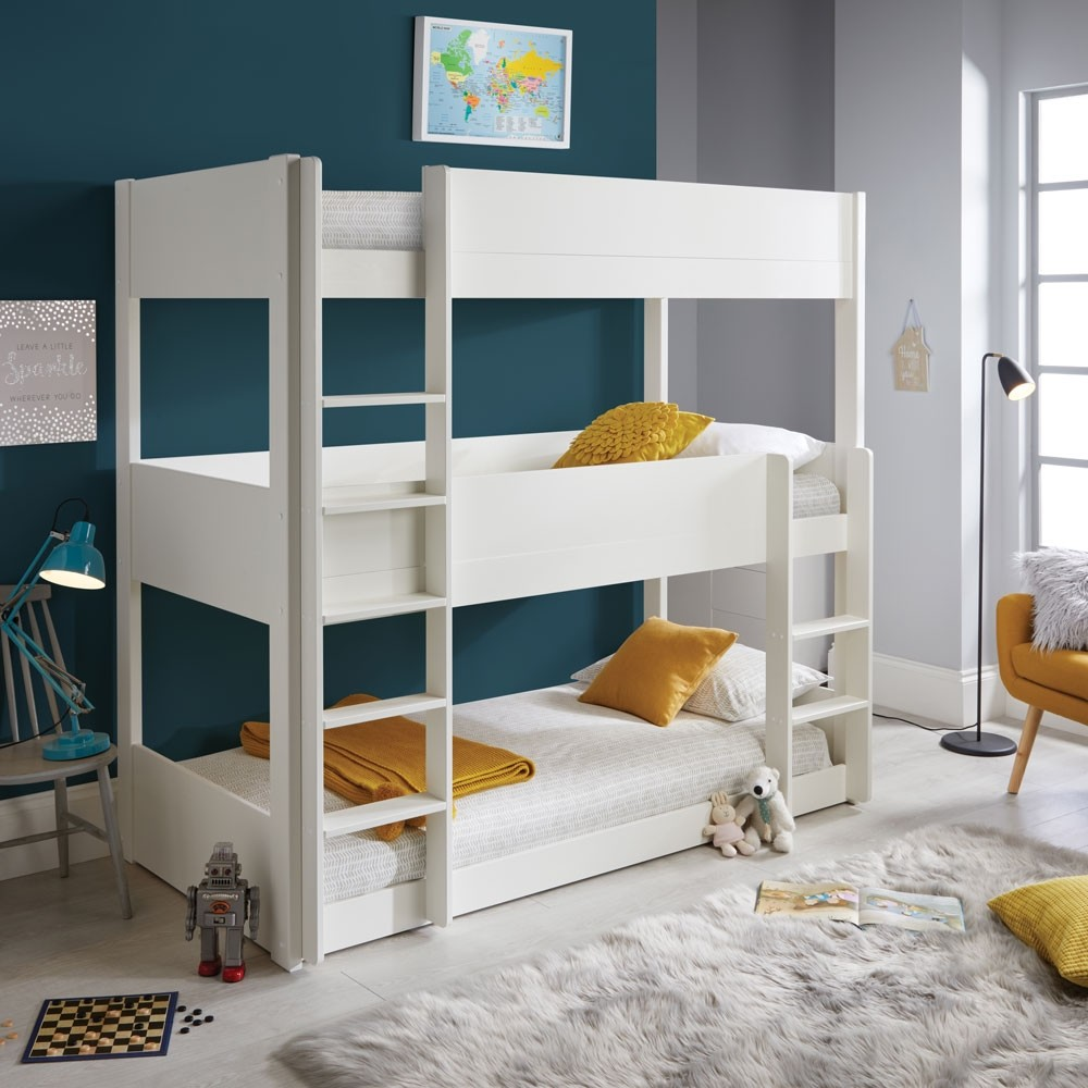 Three Tier White Bunk Bed