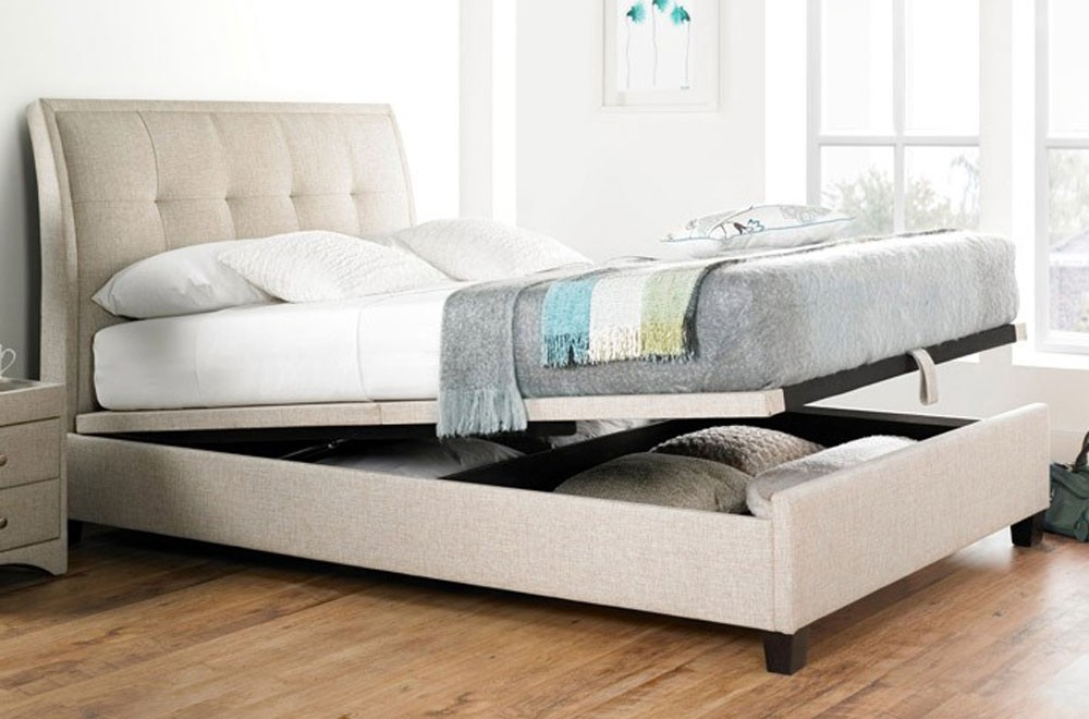 Acclaim Oatmeal Double Ottoman Storage Bed Frame