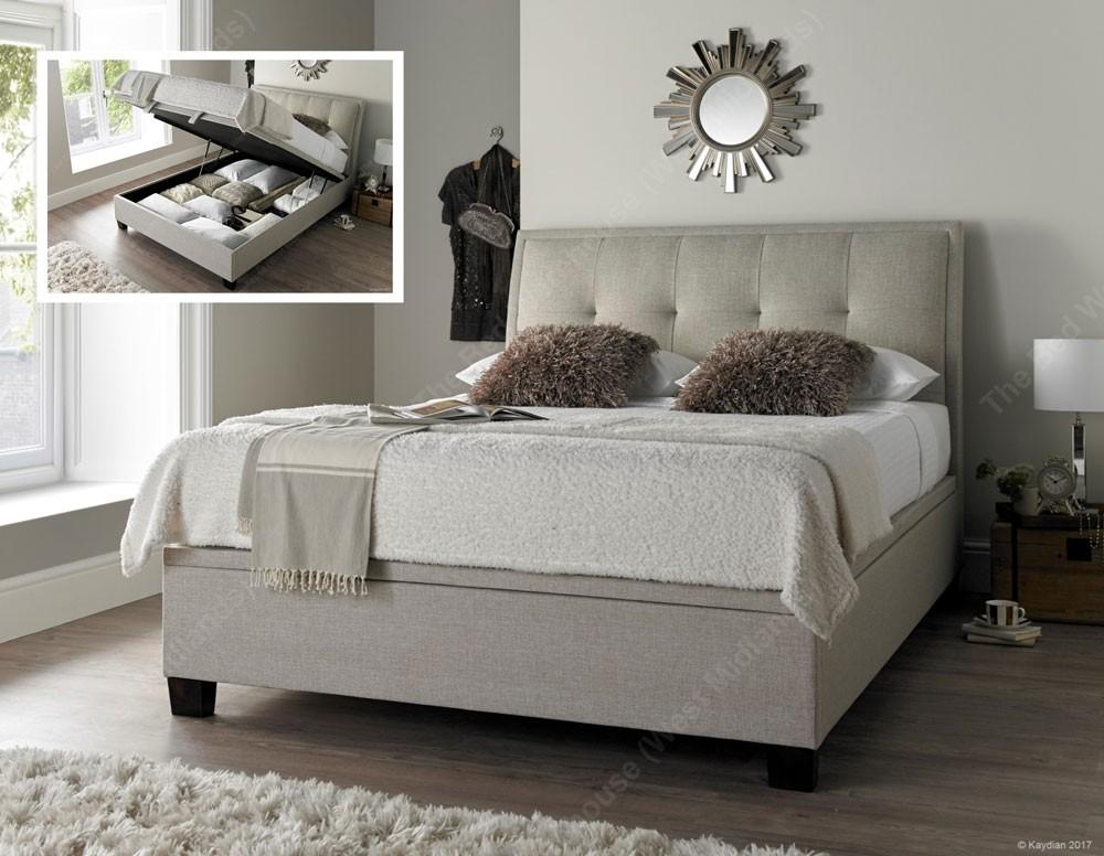Acclaim Oatmeal Ottoman Storage Bed Frame