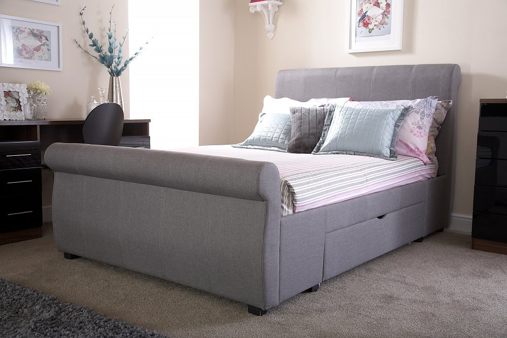 Alban Grey Storage Sleigh Bed Frame