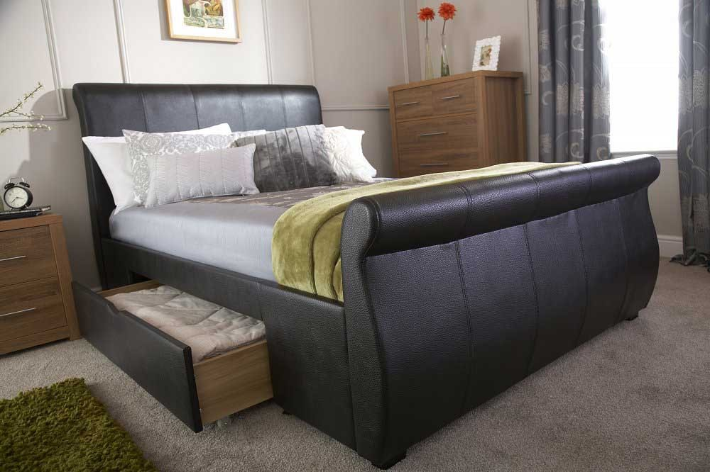 Alban Black Storage Sleigh Bed Frame