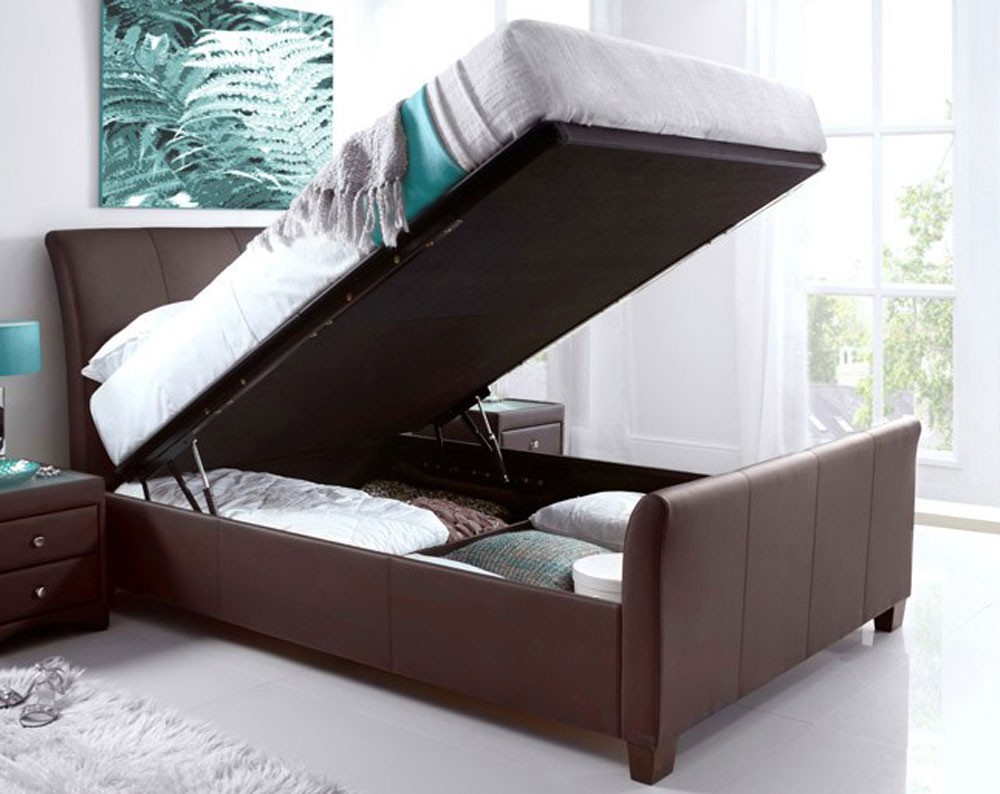 Allen Brown Leather Ottoman Storage Bed Frame