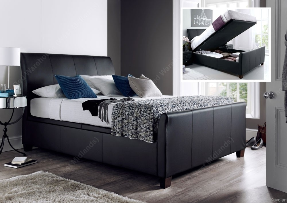 detailed look ab51a b304a Allen Black Leather King Size Ottoman Storage Bed Frame