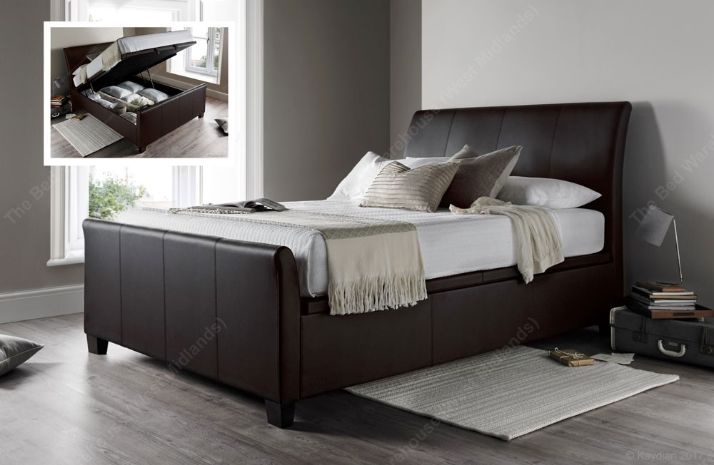 hot sales f9f56 c5513 Allen Brown Leather Super Kingsize Ottoman Storage Bed Frame