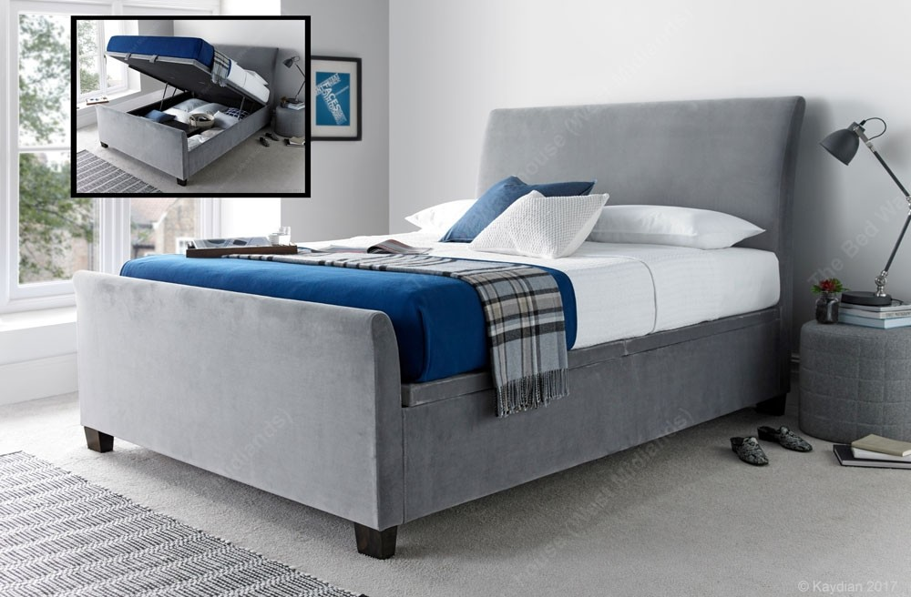 Swell Allen Grey Velvet Super Kingsize Ottoman Storage Bed Frame Theyellowbook Wood Chair Design Ideas Theyellowbookinfo