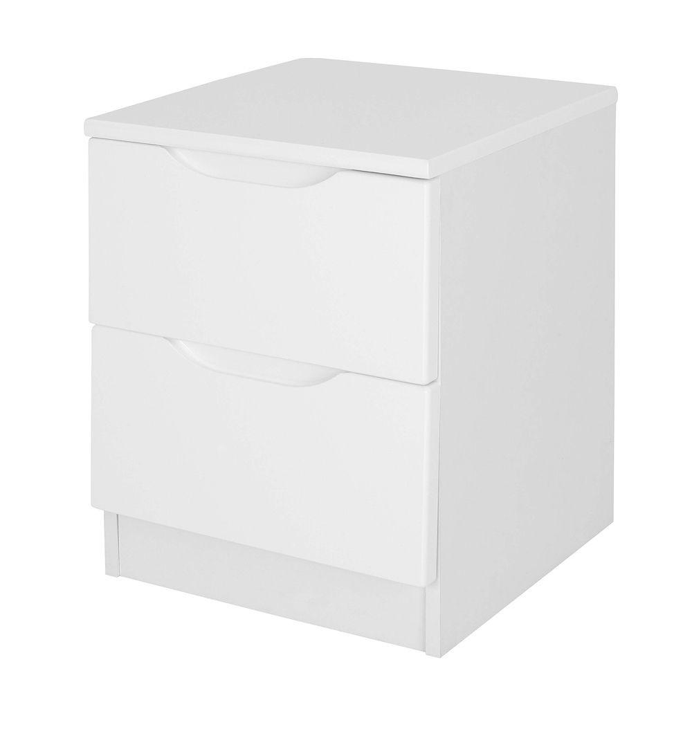 Alpine White Gloss 2 Drawer Bedside