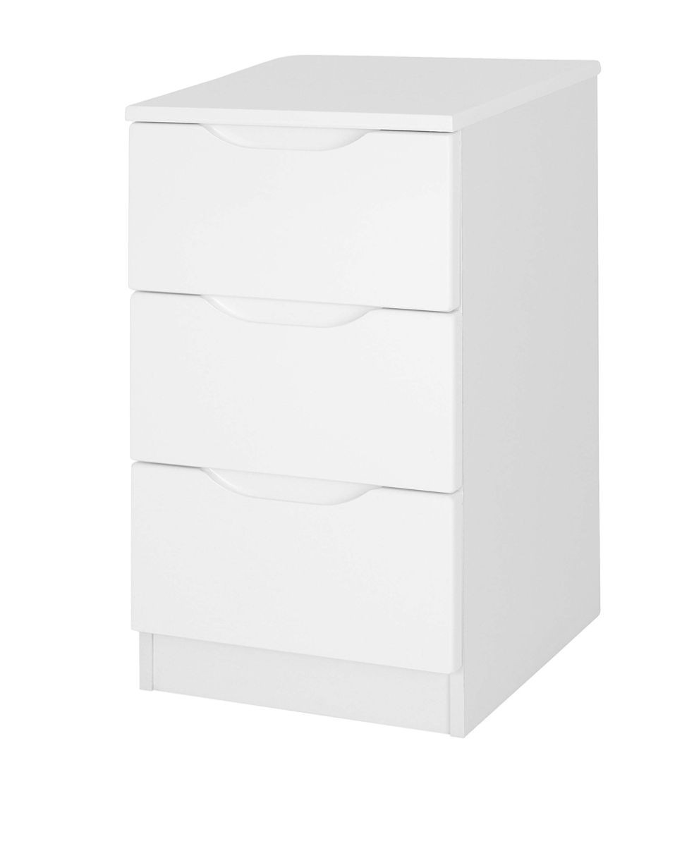 Alpine White Gloss 3 Drawer Bedside