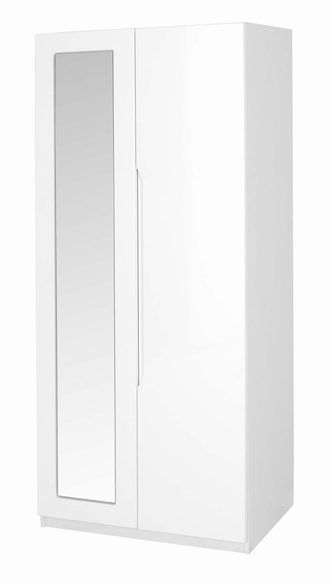 Alpine White Gloss Super Size 2 Door Robe With Mirror