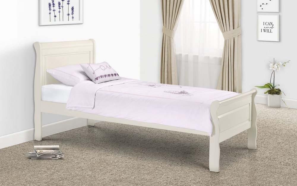 Amaya Stone White Sleigh Bed Frame