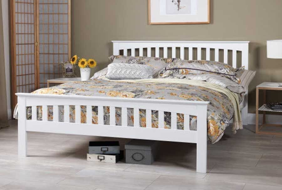 Emelia Opal White Double Bed Frame