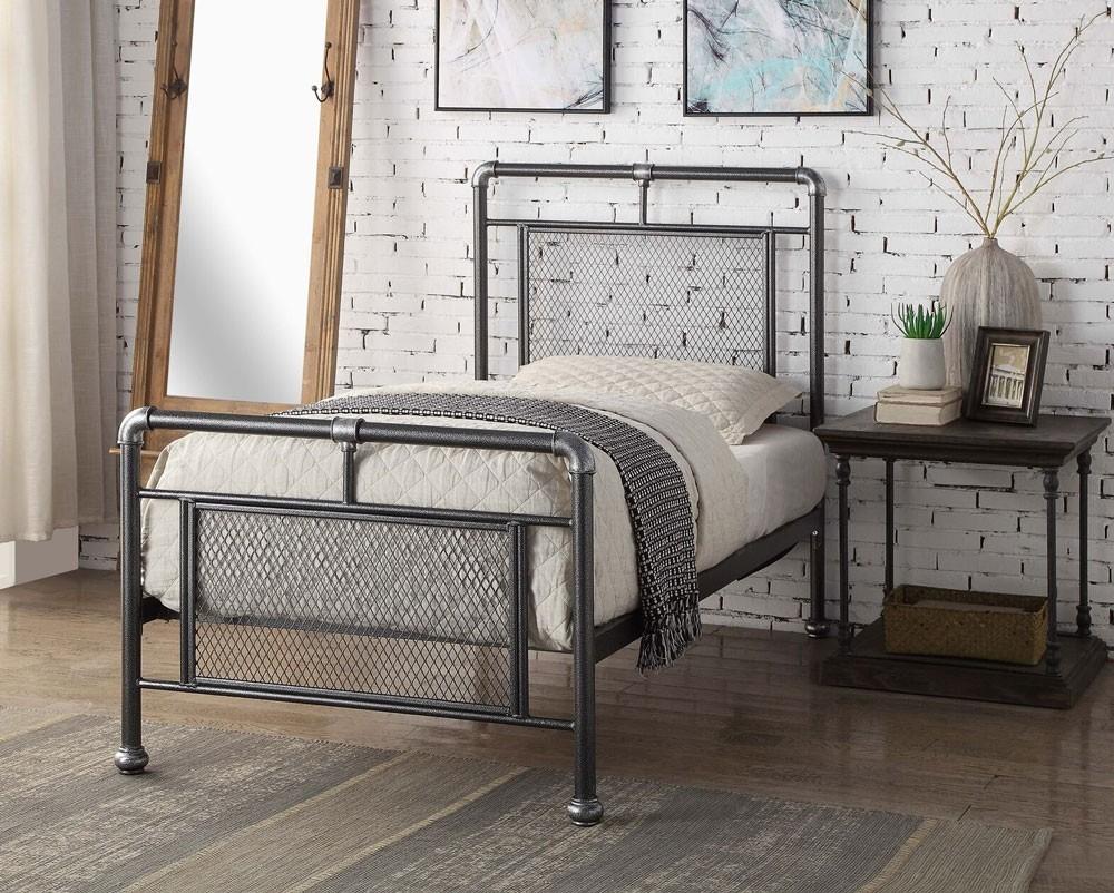 Hopper Brushed Steel Single Bed Frame