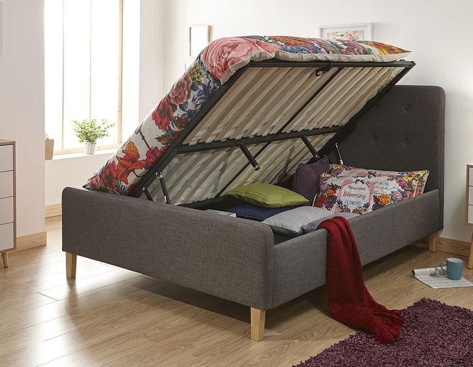 Ashville Ottoman Storage Bed Frame In Grey