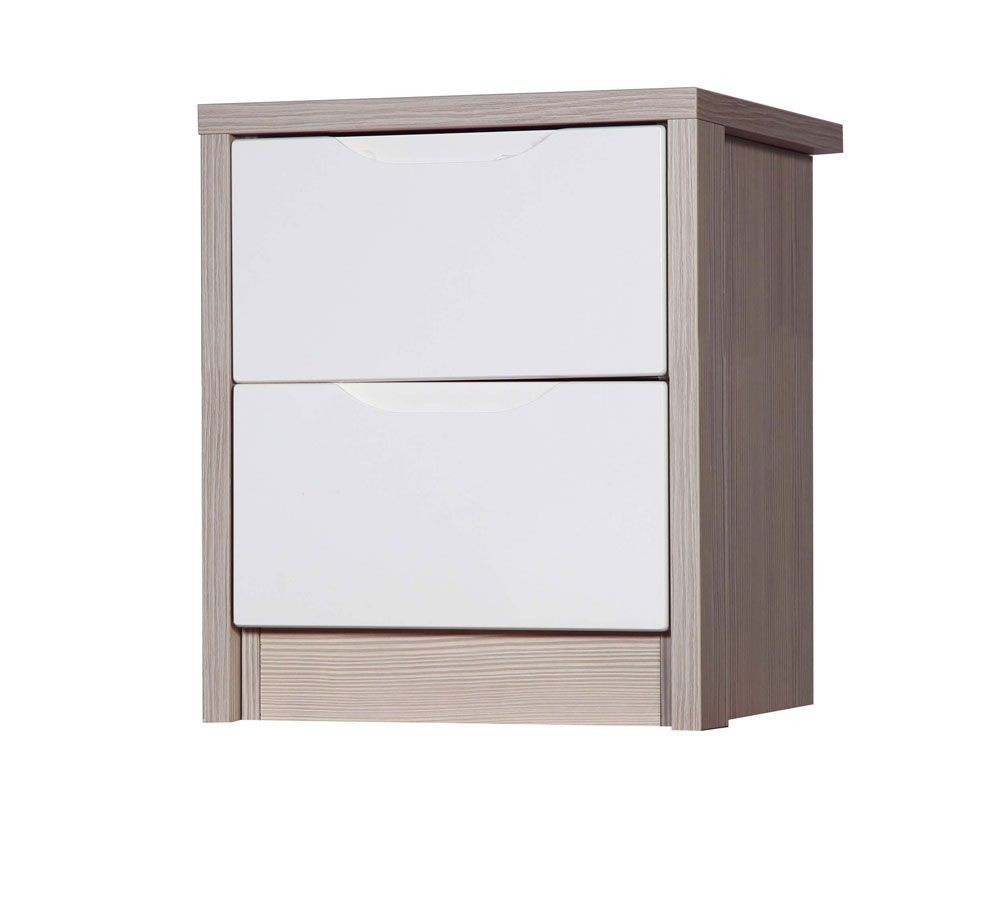 Avola Champagne With Cream Gloss 2 Drawer Bedside