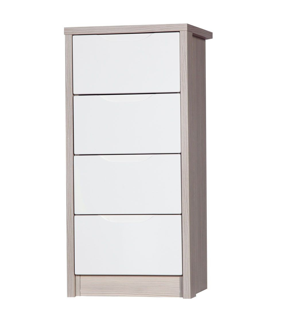 Avola Champagne With Cream Gloss 4 Drawer Tallboy