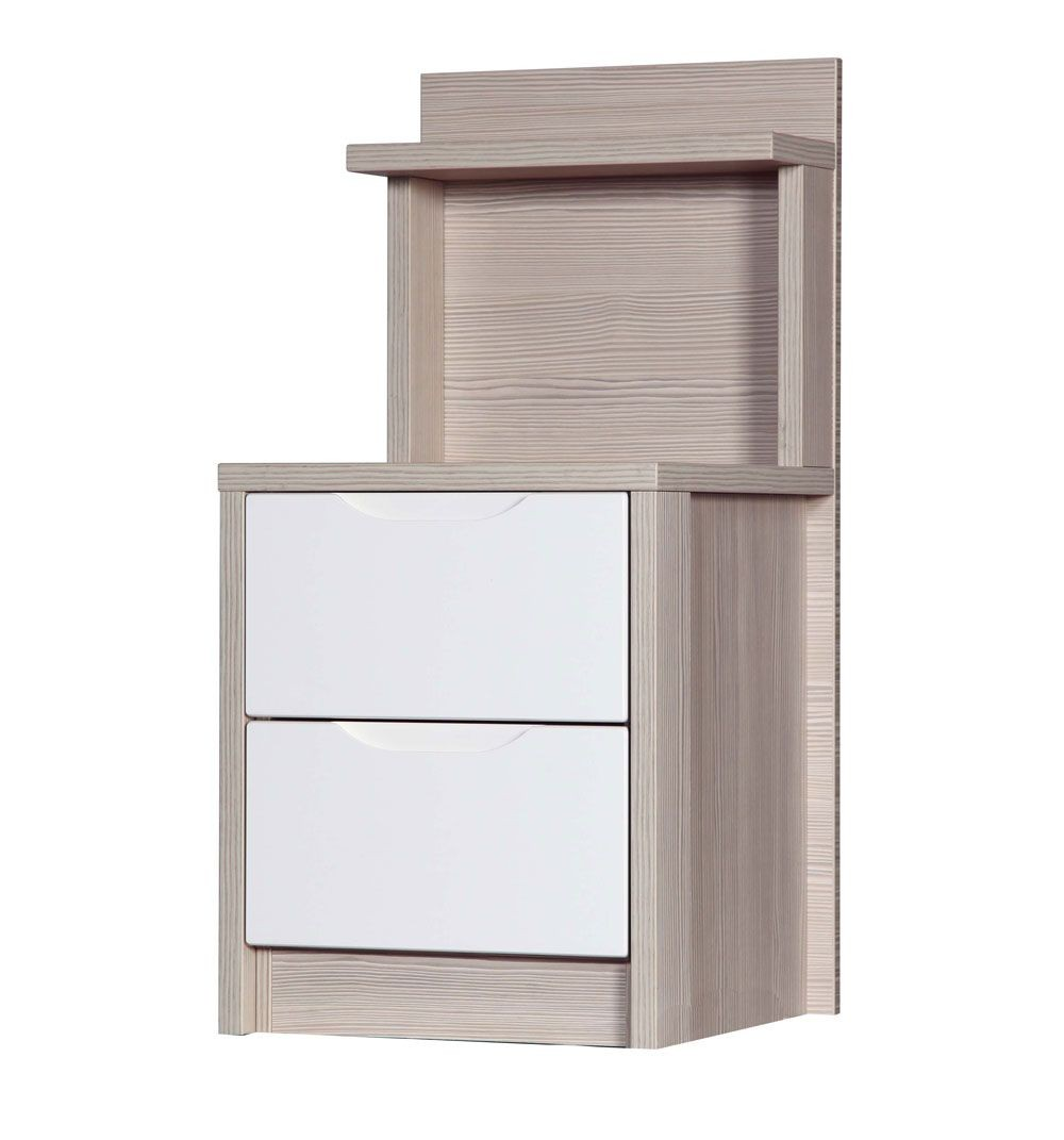 Avola Champagne With Cream Gloss 2 Drawer Deluxe Bedside