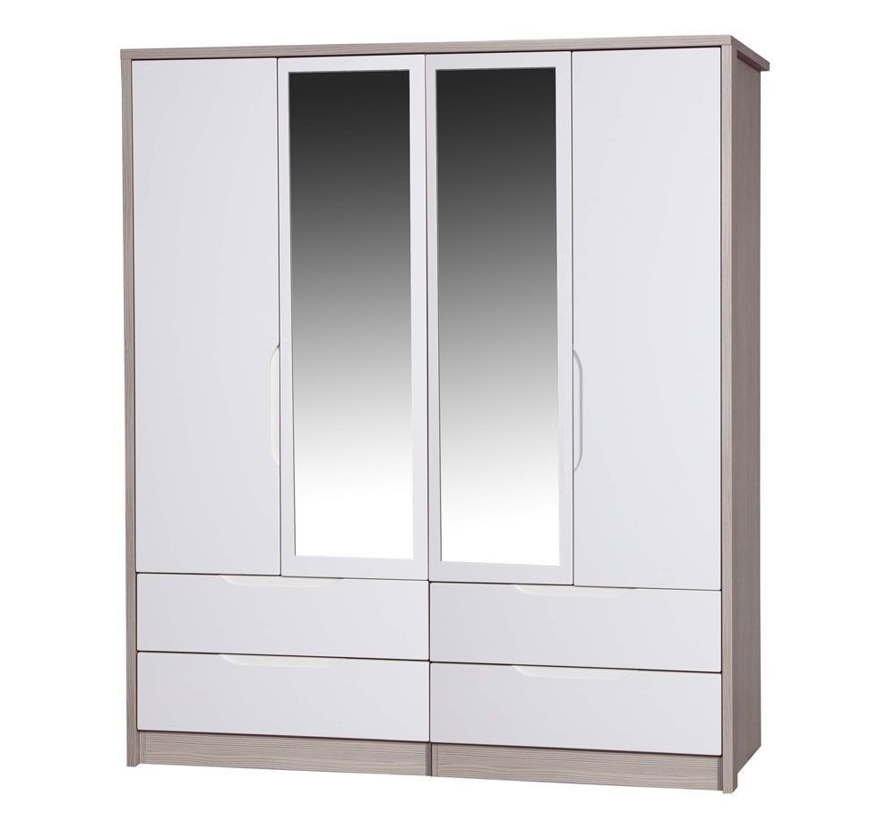 Avola Champagne With Cream Gloss 4 Door 4 Drawer Mirror Combi