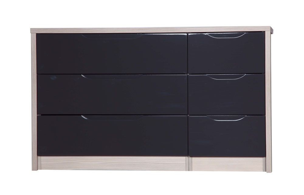 Avola Champagne With Grey Gloss 3 Drawer Double Chest
