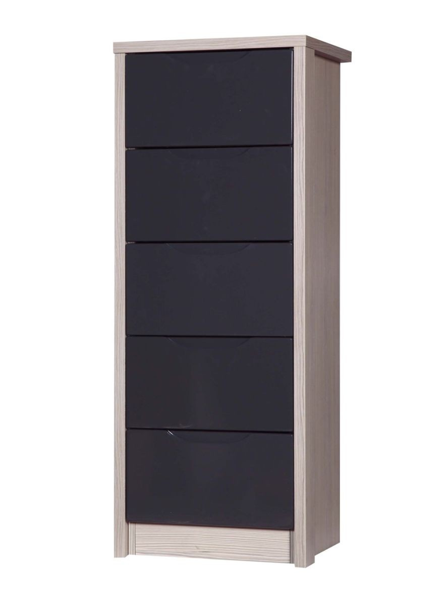 Avola Champagne With Grey Gloss 5 Drawer Tallboy