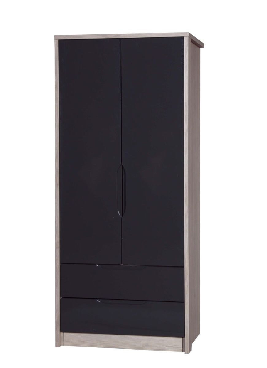 Avola Champagne With Grey Gloss 2 Door 2 Drawer Combi Robe