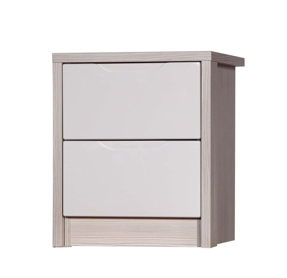 Avola Champagne With Sand Gloss 2 Drawer Bedside