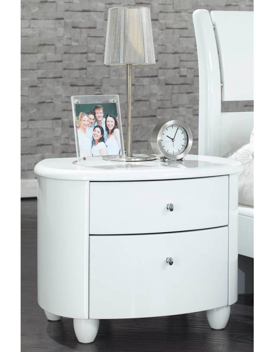 Aztec White High Gloss 2 Drawer Bedside