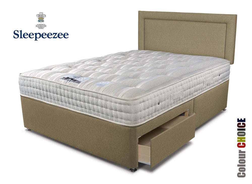 Sleepeezee backcare luxury 1400 single divan bed for Luxury divan beds