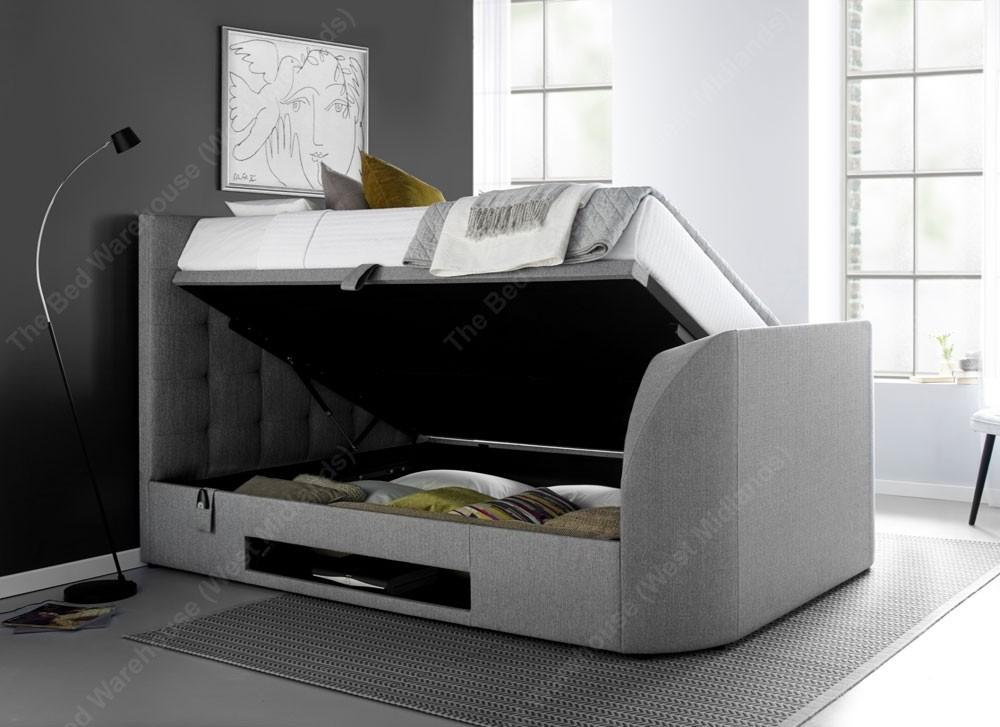 Barney Grey Double Ottoman Storage Tv Bed Frame