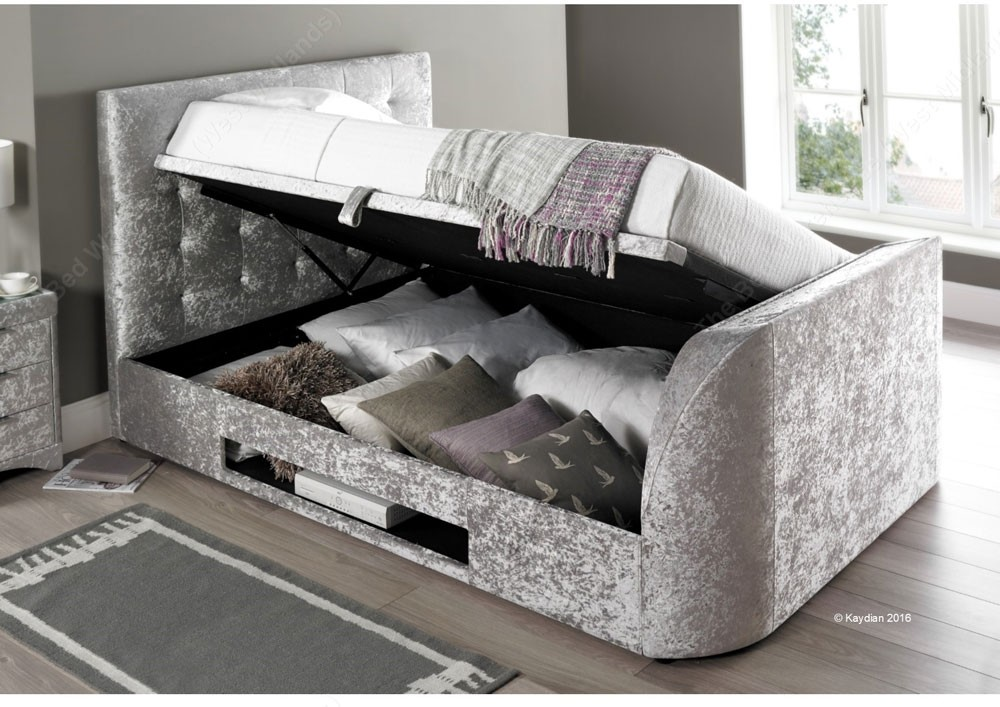 brand new 8cd29 6cbd0 Barney Silver Crushed Velvet Super King Size Ottoman Storage TV Bed Frame