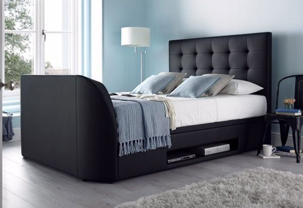 Barnwell Black TV Ottoman Bed Frame