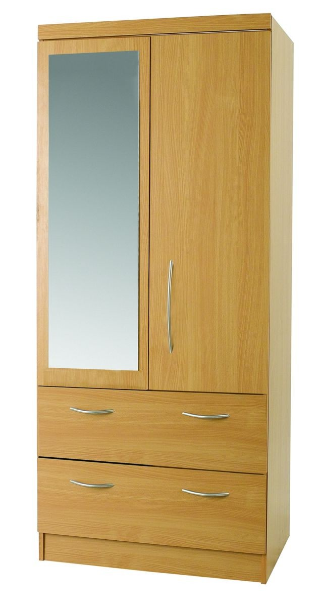 Beech Mode 2 Door Combi Robe With Mirror
