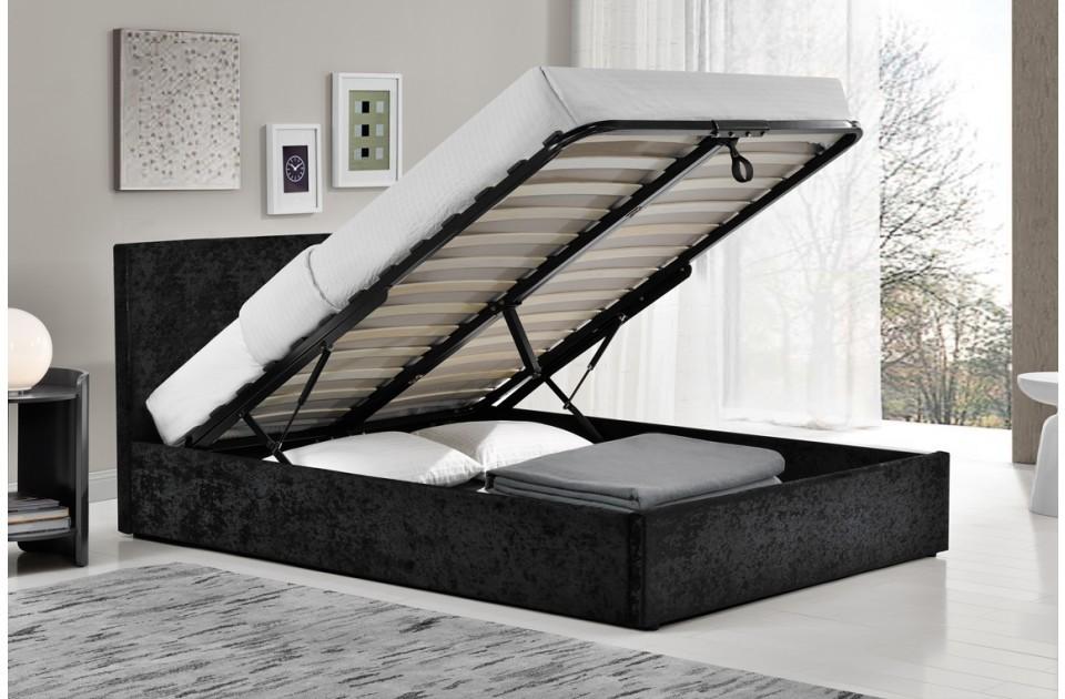 Berlin Parade Black Velvet Ottoman Storage Bed Frame