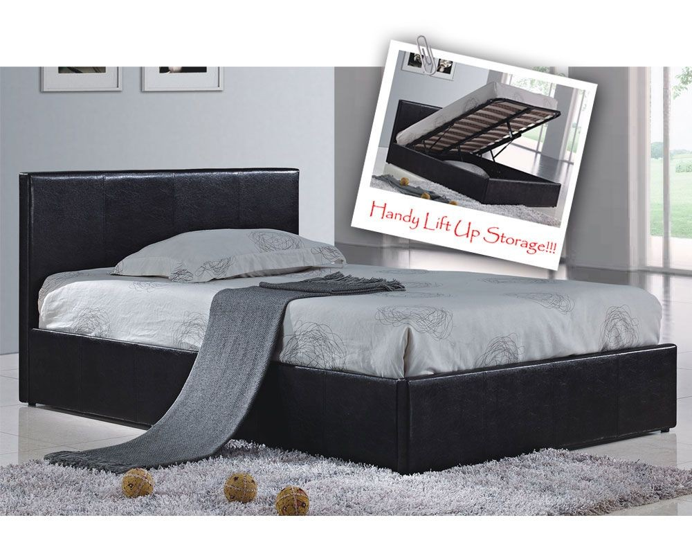 Berlin Parade Black Kingsize Ottoman Storage Bed Frame