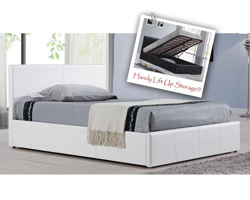 Berlin Parade White Double Ottoman Storage Bed Frame