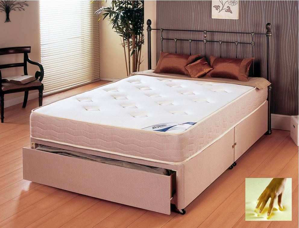 Memory Plus Three Quarter End Drawer Divan Bed