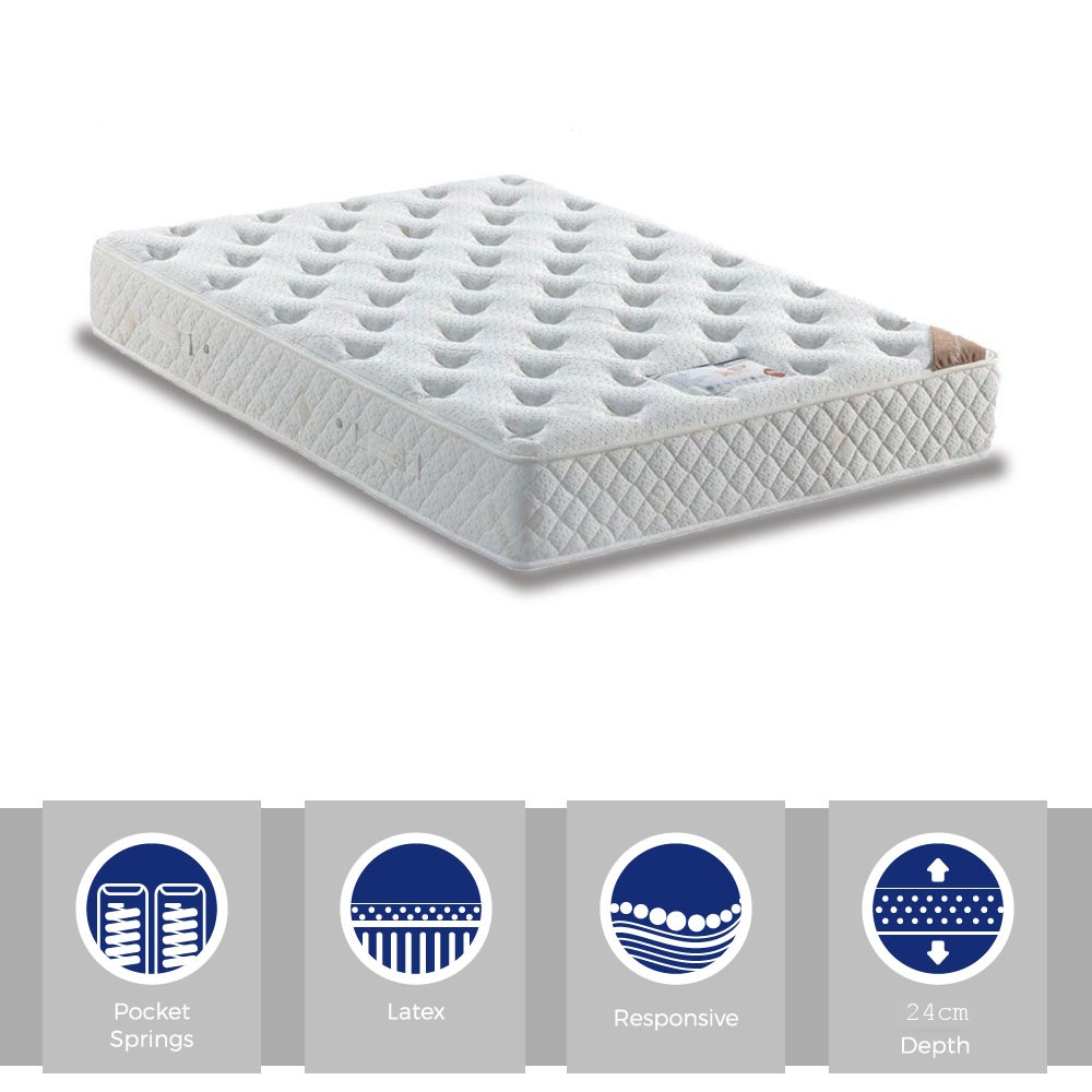 Cashmere & Latex Premier Pocket 1200 Three Quarter Mattress