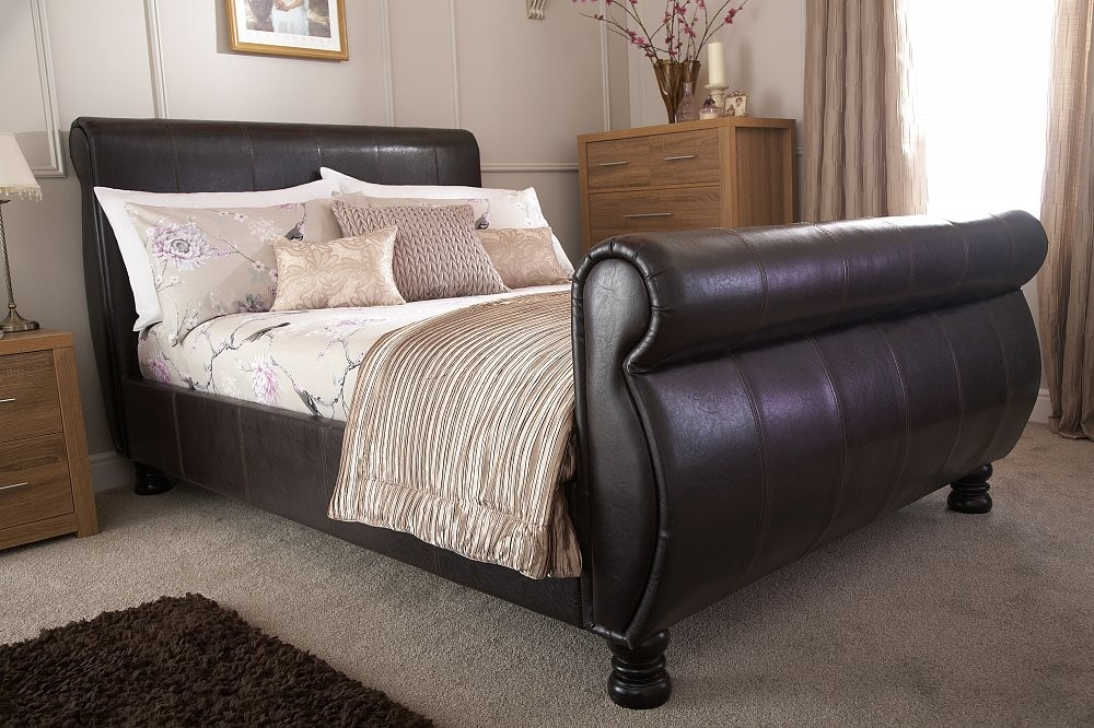 Chicago Brown Double Sleigh Bed Frame
