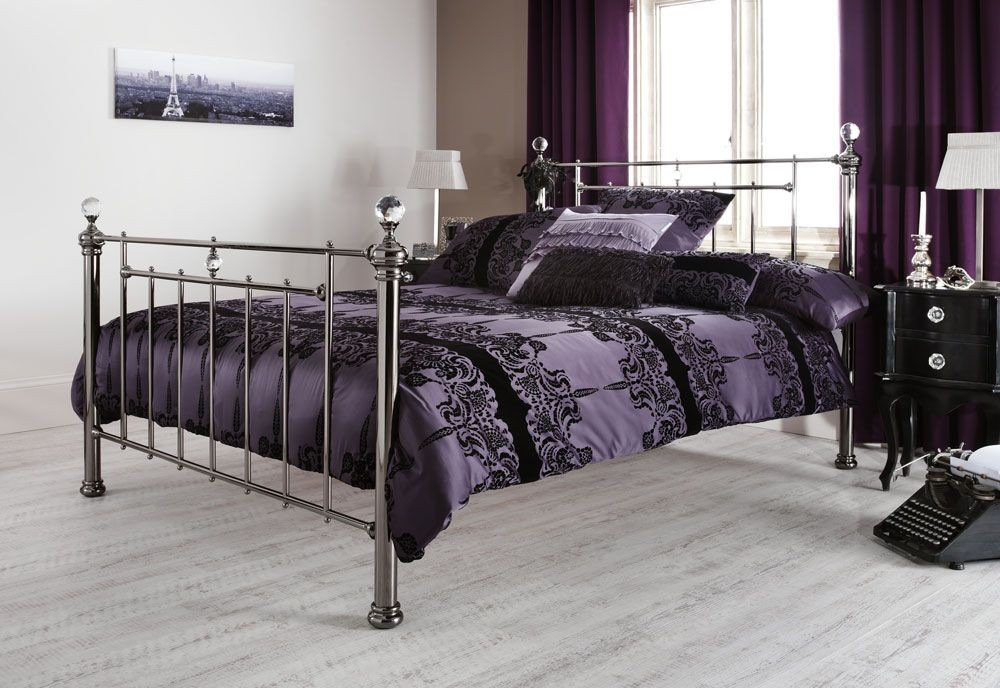 Clarence Black Nickel Super Kingsize Bed Frame